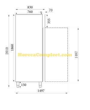 COMBISTEEL VRIESKAST RVS 1 GLASDEUR (7450.0150)
