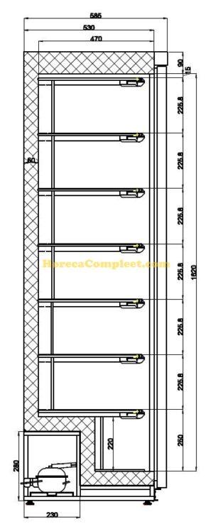 COMBISTEEL VRIESKAST RVS 1 DEUR (7450.0570)