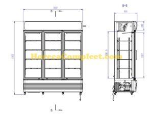 COMBISTEEL KOELKAST 3 GLASDEUREN FCU-1200 (7455.2110)