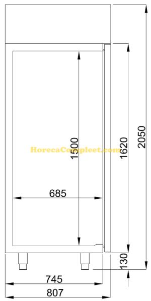 COMBISTEEL KOELKAST RVS MONO BLOCK 700 LTR  (7489.5000)