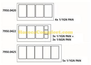 COMBISTEEL 700 KOELWERKBANK GLAS RECHT 2 DEUREN  3X 1/1 + 3X 1/6 GN PAN (7950.0422)