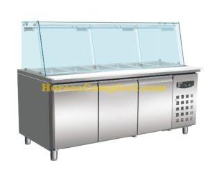 COMBISTEEL 700 KOELWERKBANK GLAS RECHT 3 DEUREN  5X 1/1 GN PAN (7950.0425)