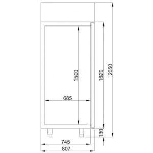 COMBISTEEL KOELKAST RVS GLASDEUR MONO BLOCK 700 LTR (7489.5020)